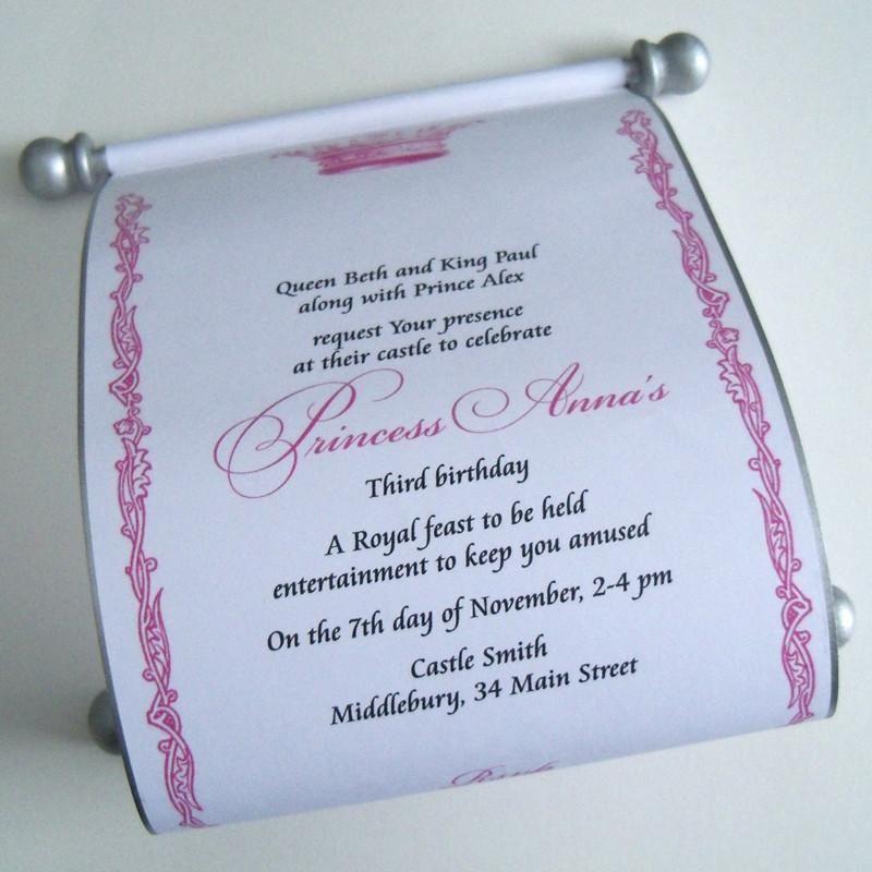 Royal princess birthday invitation scroll set of