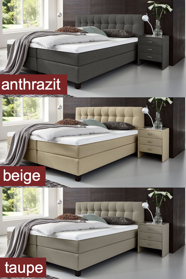 Modernes Boxspringbett Luciano In Anthrazit Beige Oder Taupe
