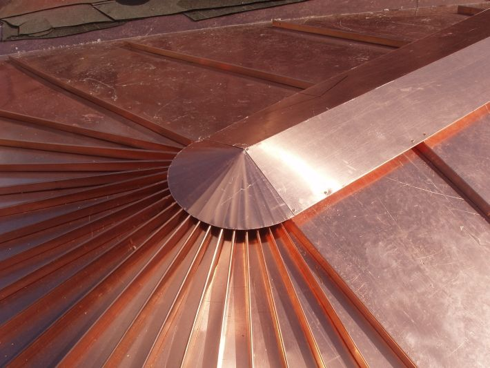 standing seam copper roof radius pictures