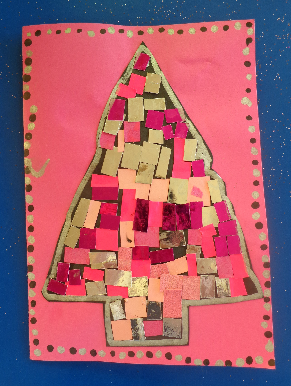 Carte de Noël collage en forme de sapin | Carte noel maternelle
