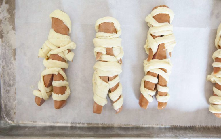 Mummy Hotdogs Made With Crescent Rolls - Halloween Food Fun for All