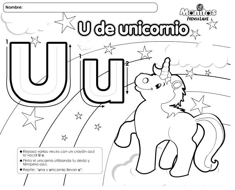 Vocal U De Unicornio Hago Mi Tareahago Mi Tarea Actividades De Letras Fichas De Vocales Actividades De Lectura Preescolar