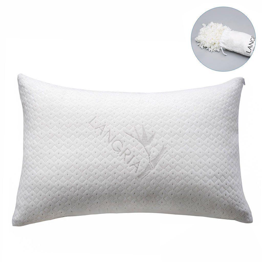 Langria luxury bamboo shredded memory foam pillow with zip