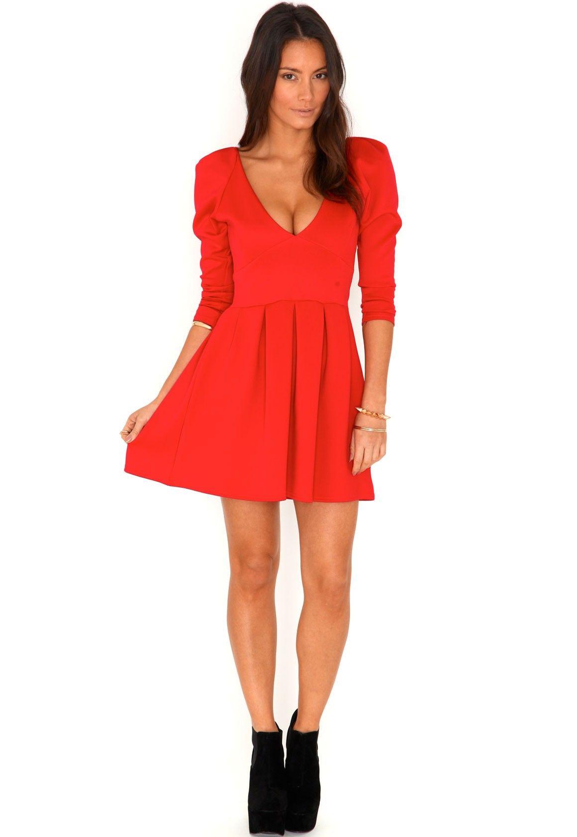 Tamasha Plunge Neck Skater Dress In Red | Dresses, Plunge ...