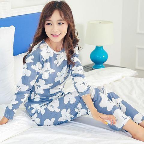 6bdcdb1249 Women Long Sleeve sweet Floral print Sleepwear suit spring Autumn Pajamas  Set young Girl Nightgown casual