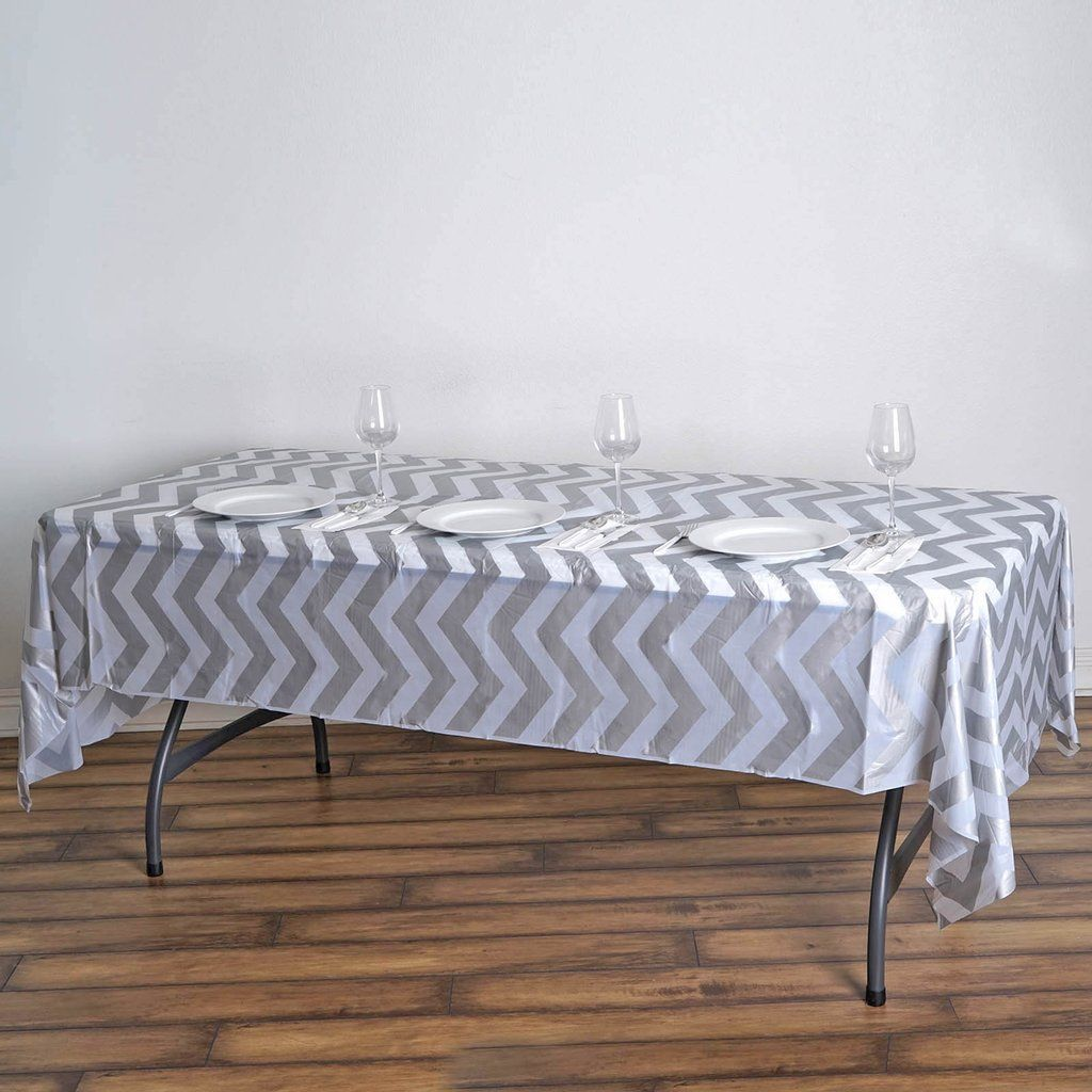54 X 108 Silver 10 Mil Thick Chevron Waterproof Tablecloth Pvc Rectangle Disposable Tablecloth In 2020 Waterproof Tablecloth Table Cloth Vinyl Tablecloth