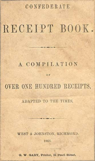Confederate (Recipe) Receipt Book A Compilation of over One - free printable receipt book