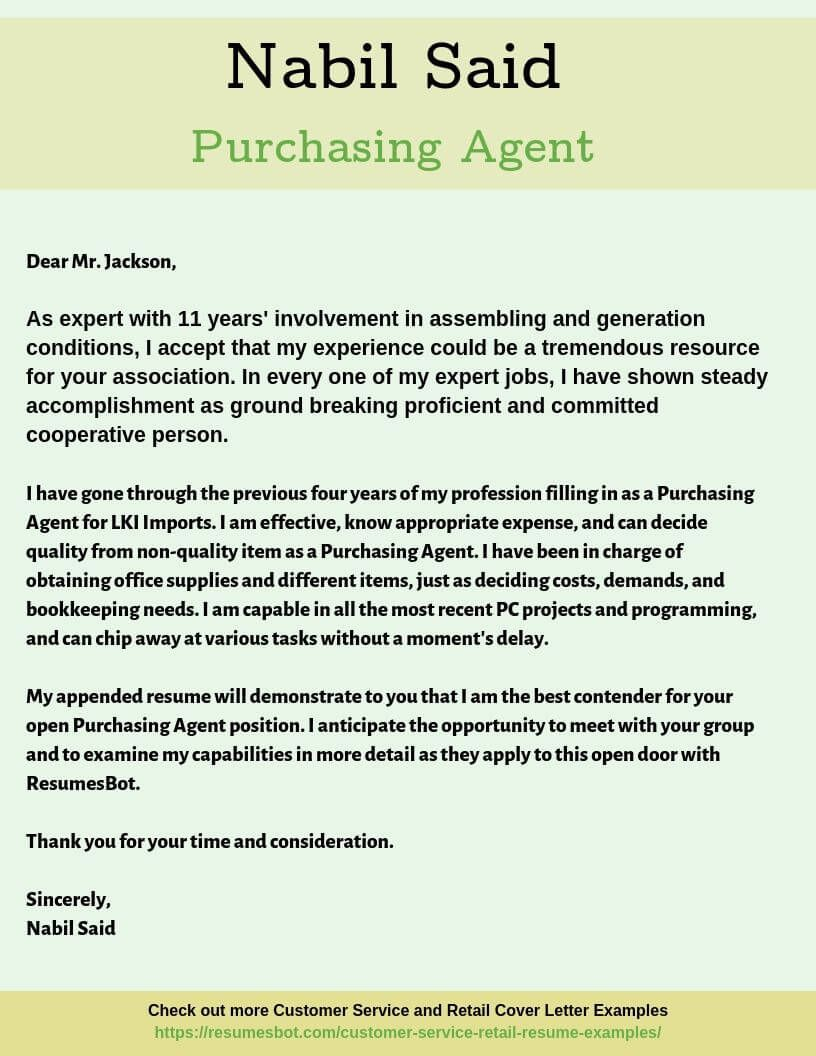 Purchasing Agent Cover Letter Samples Templates Pdf Word 2021 Purchasing Agent Cover Letters Rb Cover Letter Example Resume Cover Letter Examples Letter Example