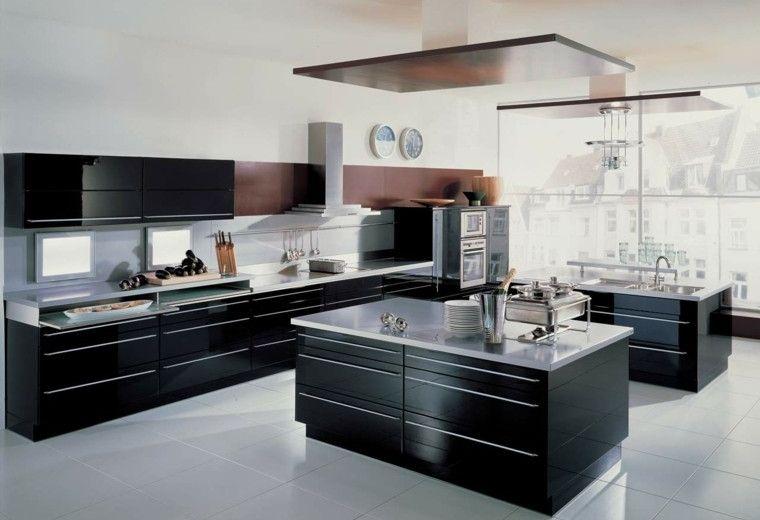 cocinas blancas negras fregadero marron - Cocinas Blancas Y Negras