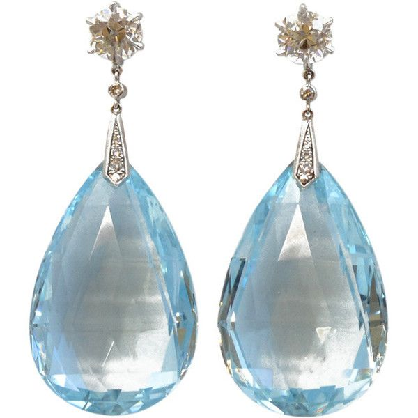 Pre-owned Aquamarine Briolette and Diamond Drop Earrings (€25.075) ❤ liked on Polyvore featuring jewelry, earrings, drop earrings, diamond drop earrings, aquamarine jewelry, aquamarine diamond earrings, aquamarine drop earrings and aquamarine earrings