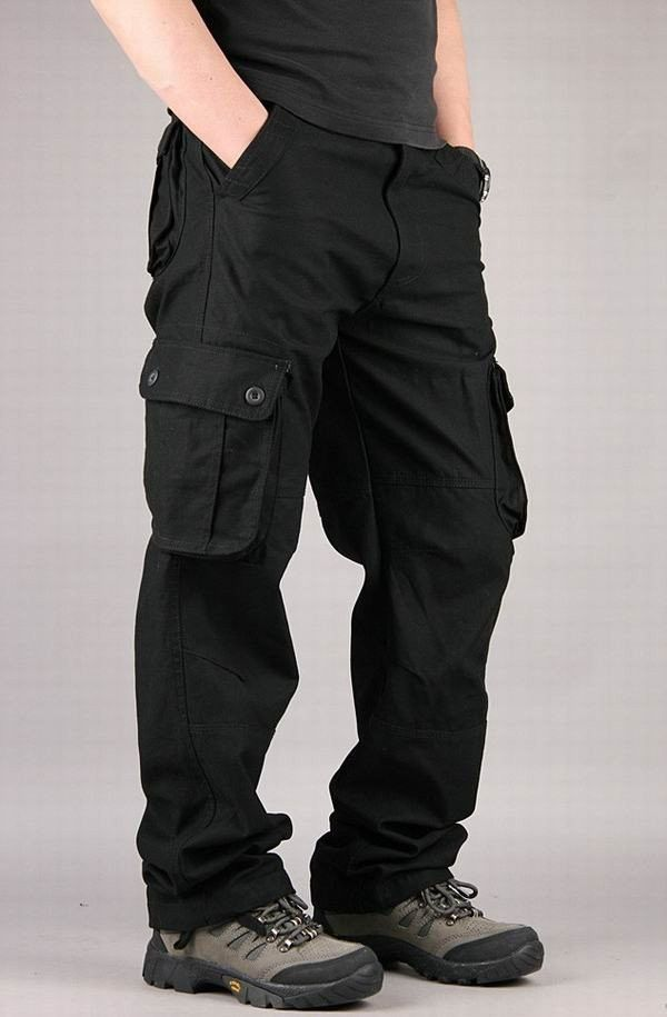 fe918d0e912c Men s Extra Large Multi Pockets Outdoor Cargo Pants Casual Loose Cotton  Trousers