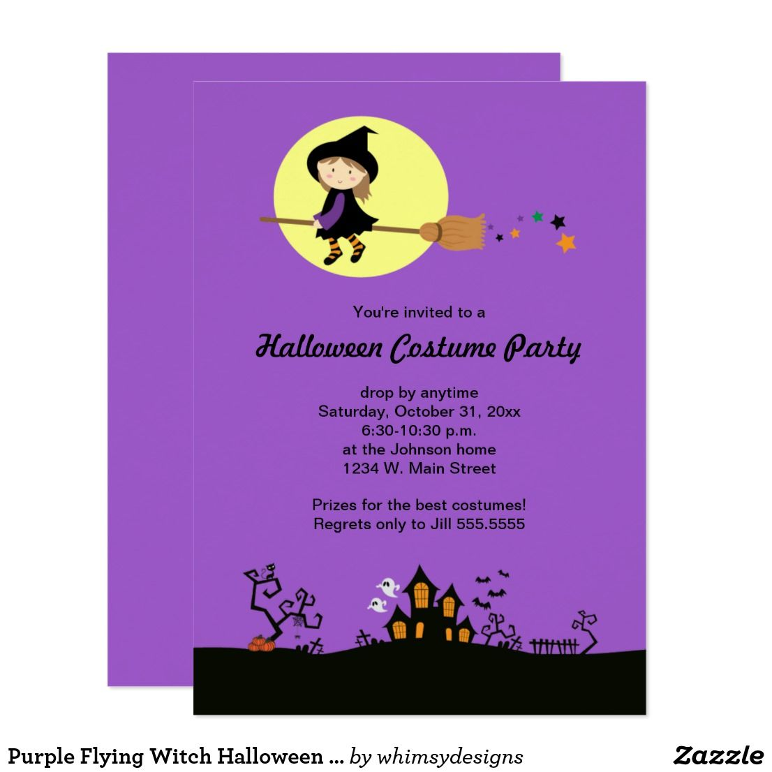 Purple Flying Witch Halloween Party Invitations | Halloween parties ...