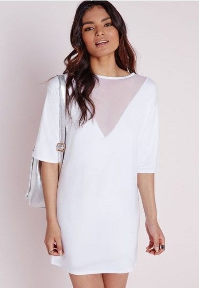 339308458e8 Mesh V Insert Oversized T-Shirt Dress White - Dresses - T-Shirt Dresses -  Missguided