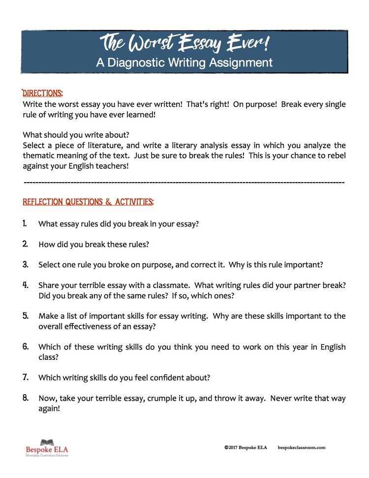 The Worst Essay Of Your Life A Unique Approach To Assessing Writing At The Beginning Of The School Year Teachwriting Org Essay Creative Writing Classes Teaching High School English