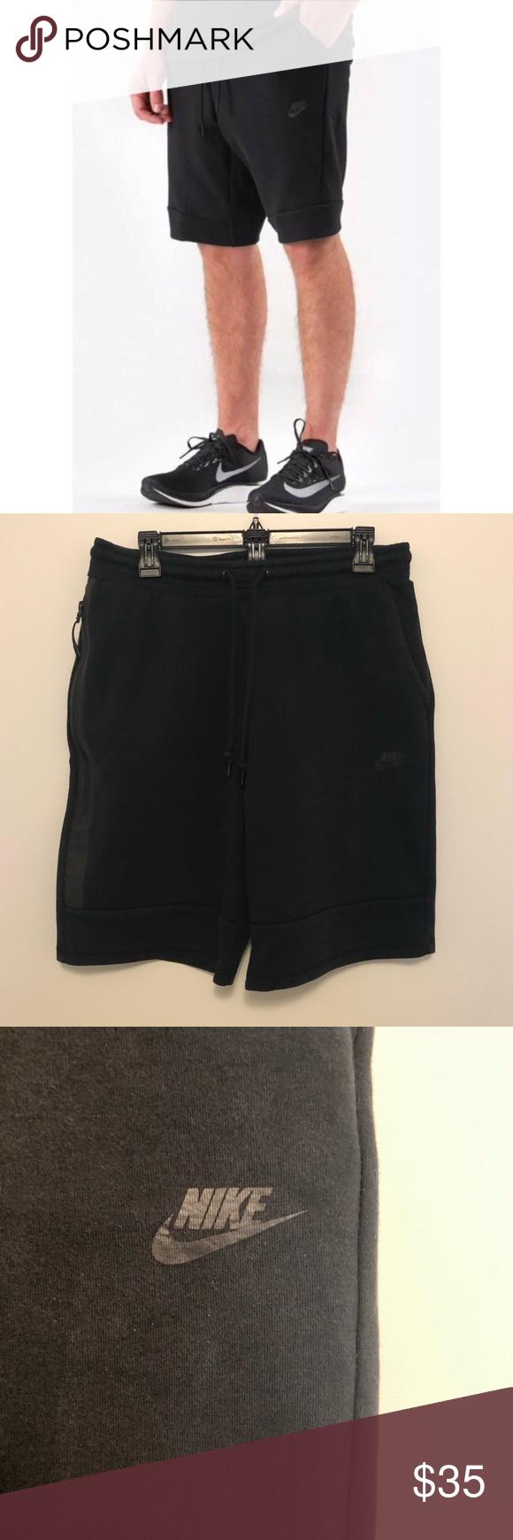Nike Men's Tech Fleece Shorts Black Sz Large Fleece