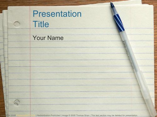 Notebook Paper Pen Education Powerpoint Templates Powerpoint