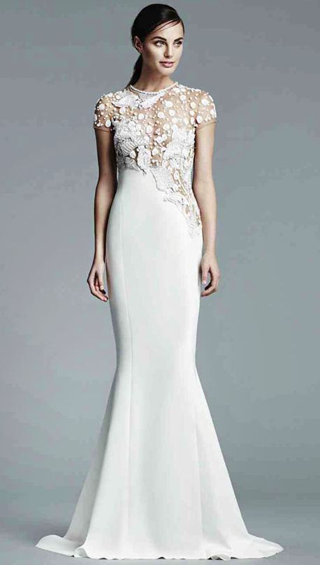 d30280a1 Chic embroidered white wedding dress with trumpet skirt; Featured Dress: J.  Mendel