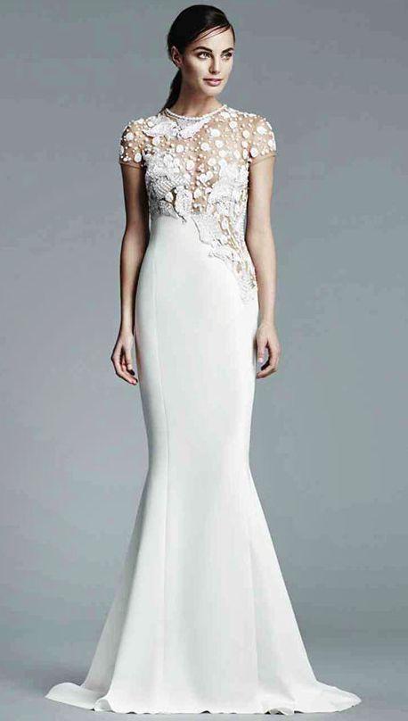 Embroidered Short Sleeve Mock Turtleneck Wedding Dress | White ...