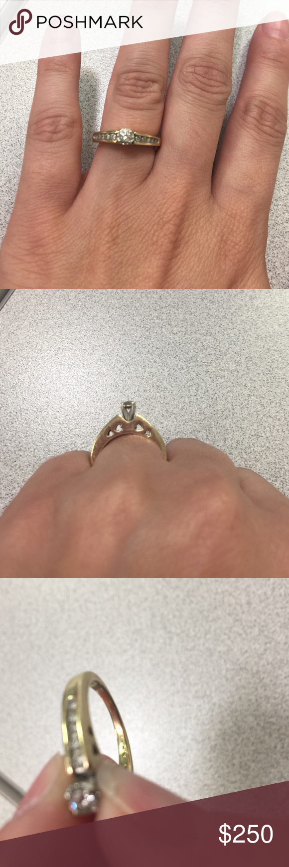 10k gold diamond engagement ring. This is another old ring from my previous marriage that I just no longer need in my life. Im sure what the carats are on it all. I got this in high school 10 years ago. I wanna say it is about a size 6. Its a very cute dainty ring for a promise ring. Jewelry Rings