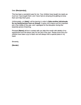 this education goodbye letter is from a teacher to students parents notifying them of