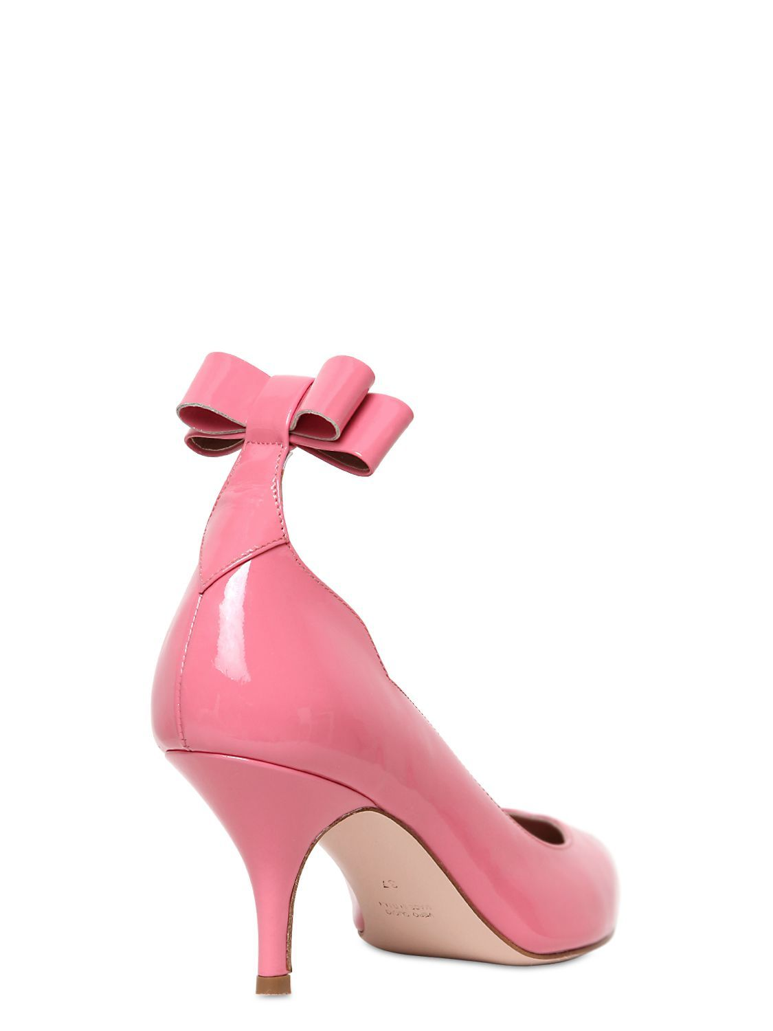 3e97f2baea8 Red Valentino 70mm Patent Leather Bow Pumps in Pink