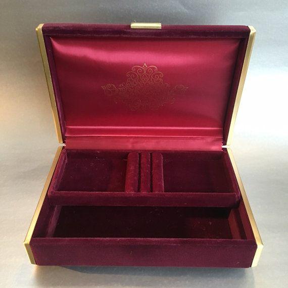 Farrington Jewelry Box Vintage Farrington Burgundy Velvet Japan Jewelry Box  Japan Box