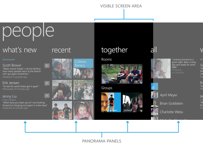 Windows Phone 8 Panorama Design Guidelines Microsoft Design Design Guidelines User Experience Design