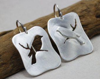 Silver bird earrings Dainty stud earrings Laser cut