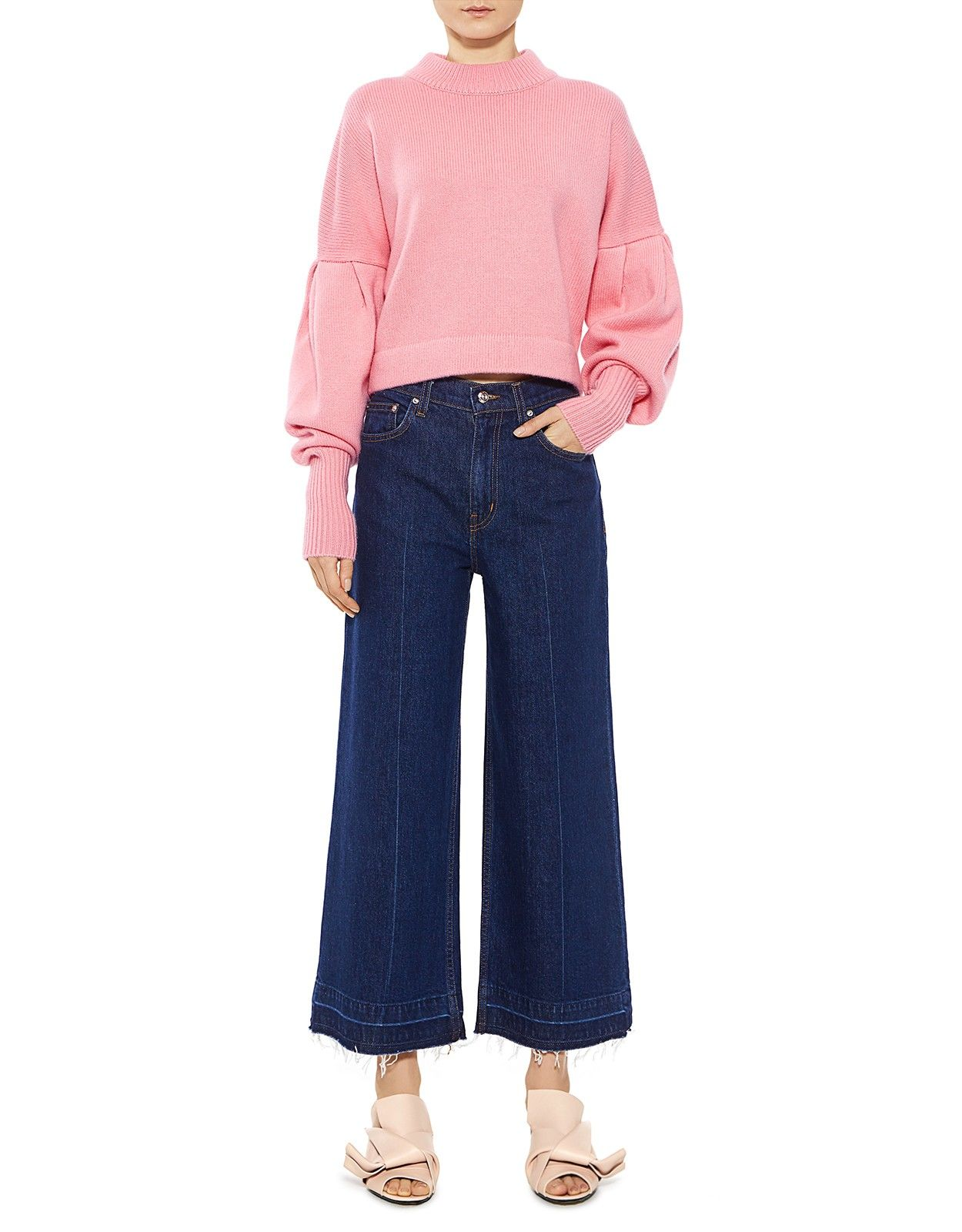 dbc1e4752a2 Tibi | Pleated Sleeves Cashmere Cropped Sweater in Coral Pink | Sweaters -  IFCHIC