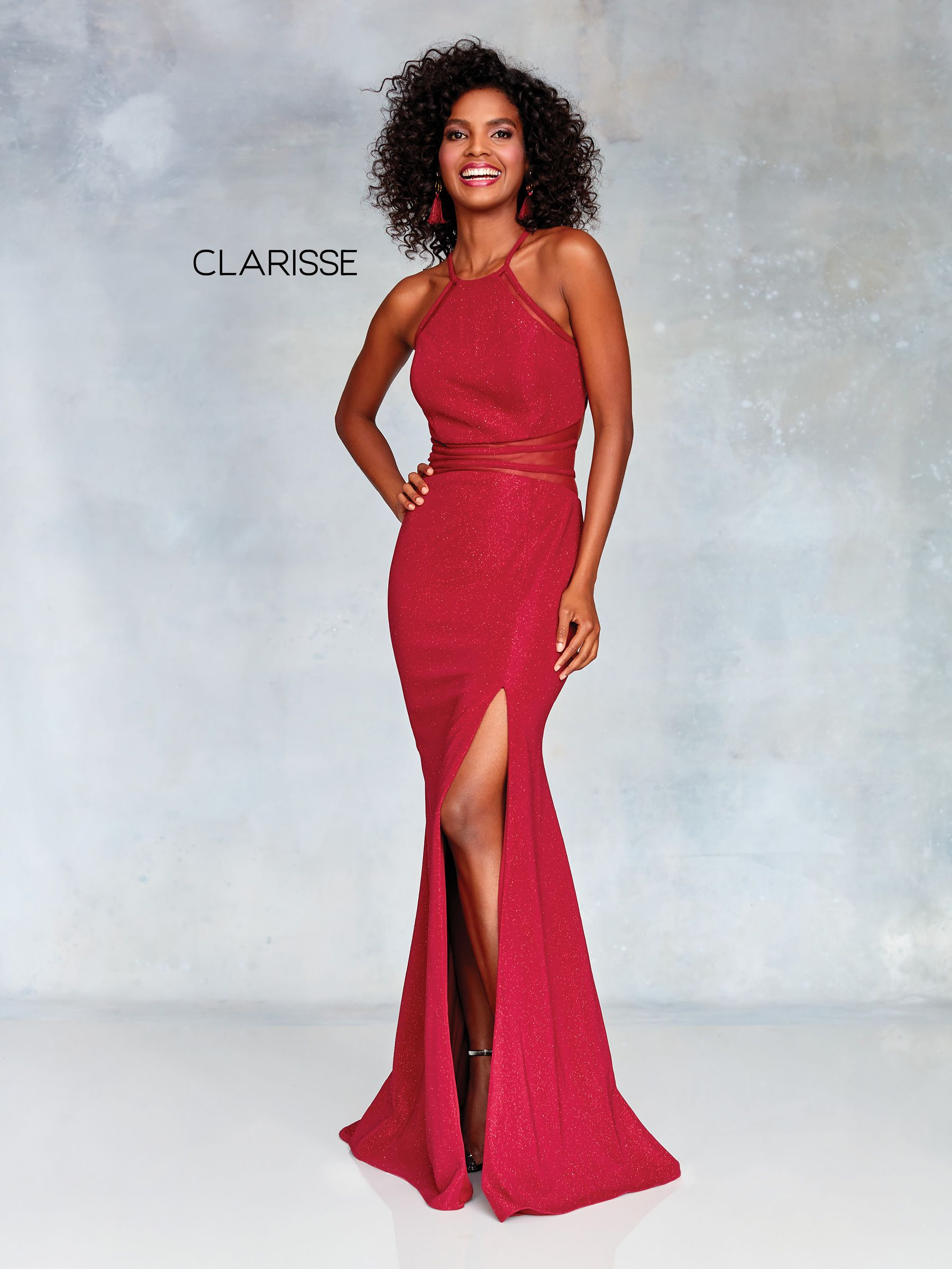 wine glitter jersey dress with a halter neckline and a mesh