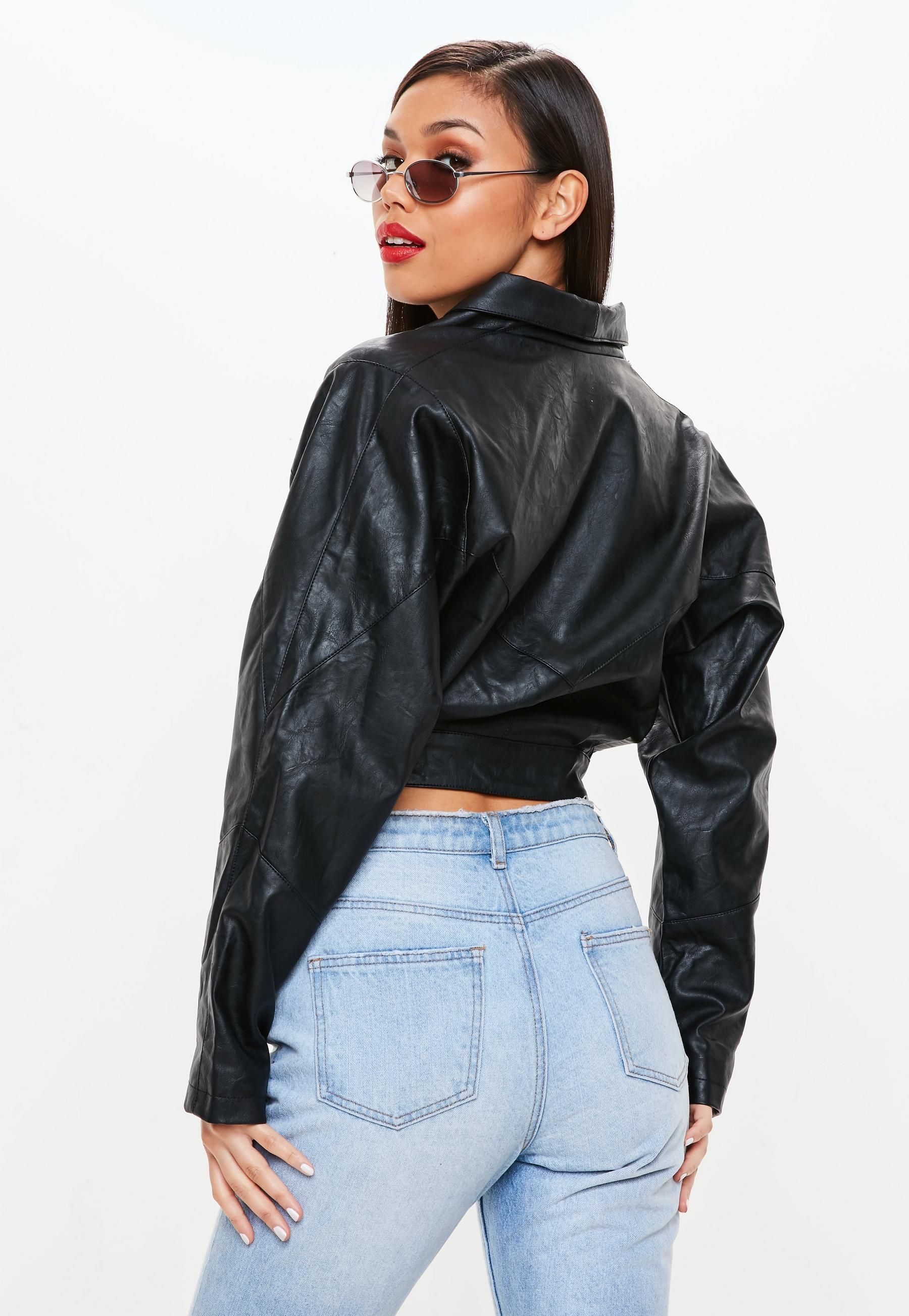 756b791291b9 Black 80 s Sleeve Faux Leather Jacket