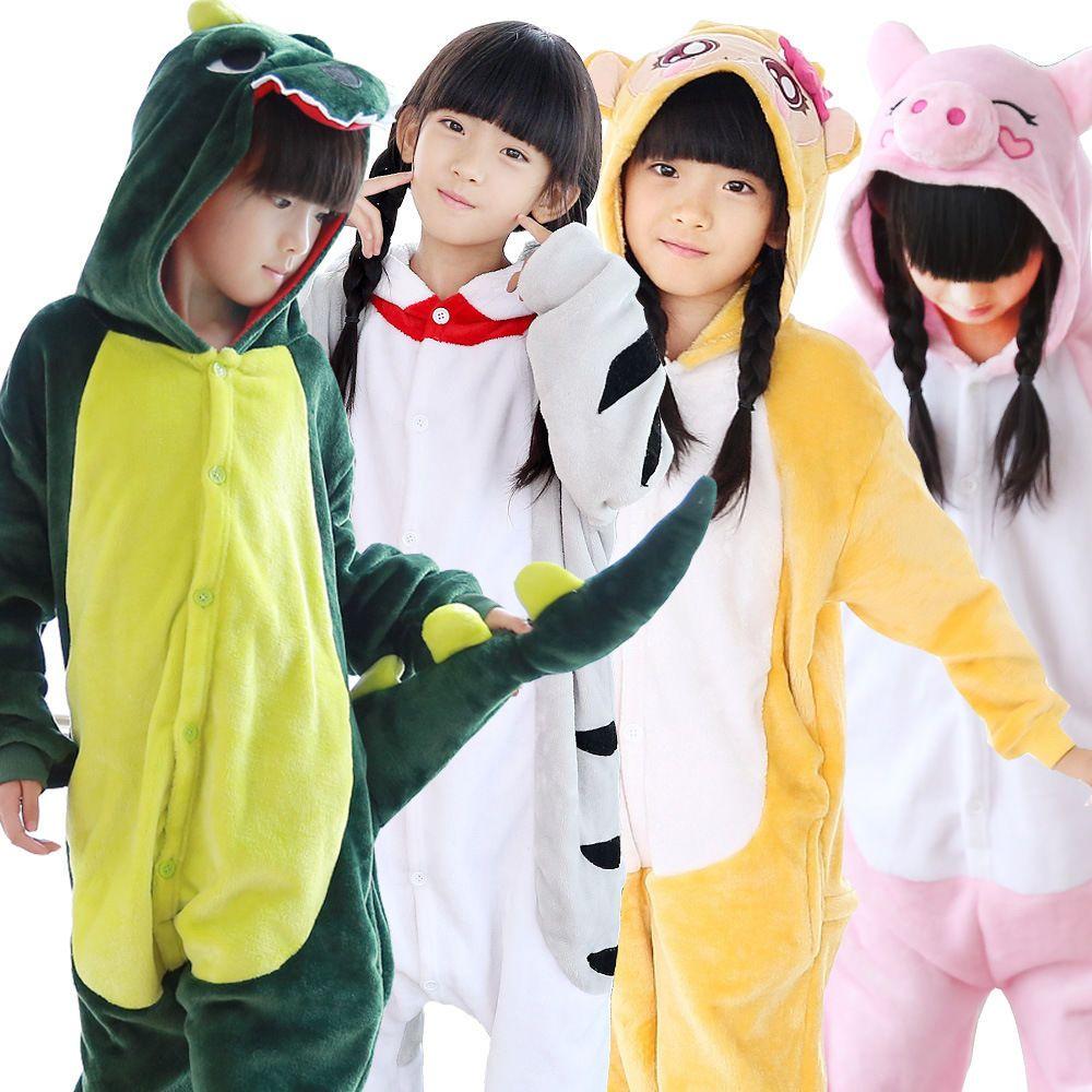 d4c3cb75eba6 Hot Kigurumi Pajamas Animal Cosplay Costume Onesi Sleepwear Kid Suit ...