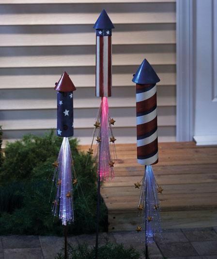 3 Solar Lit Patriotic Rocket Stakes Outdoor Garden Yard Decor 4TH JULY