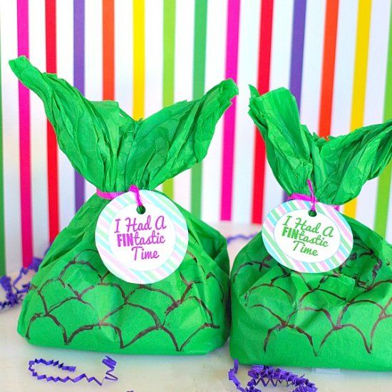 Make These Easy Mermaid Tail Party Favors Just Out Of Tissue Paper