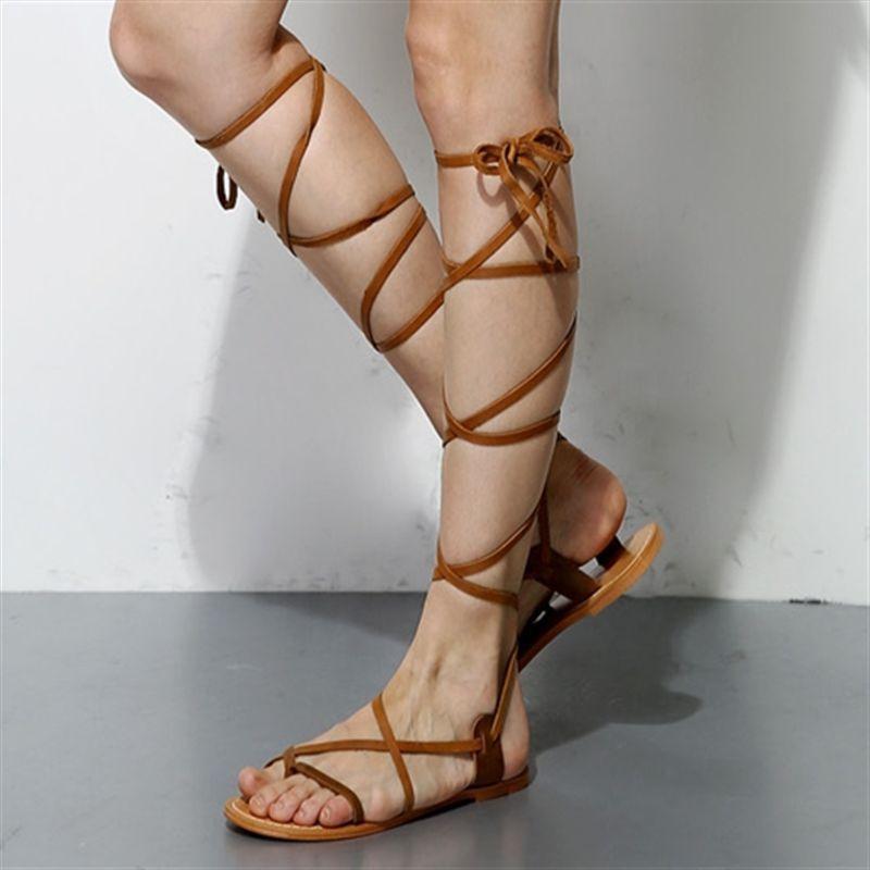 Vogue Women Flat Heel Gladiator Long Sandals Strappy Roman