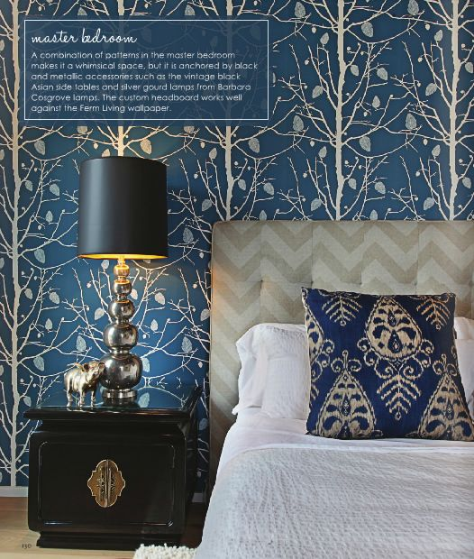 bedroom with blue wallpaper