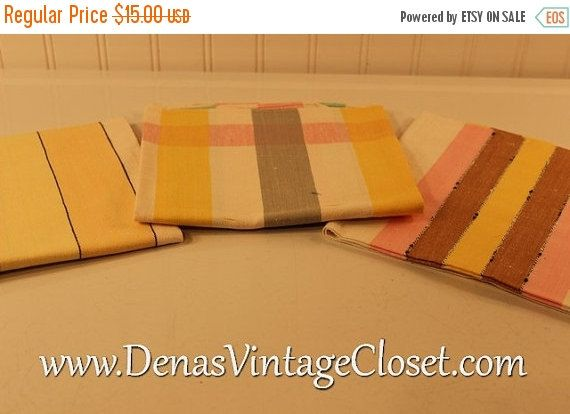 40% OFF SALE Vintage Pure Linen Kitchen Towel Set New Without Tags 3 PCS