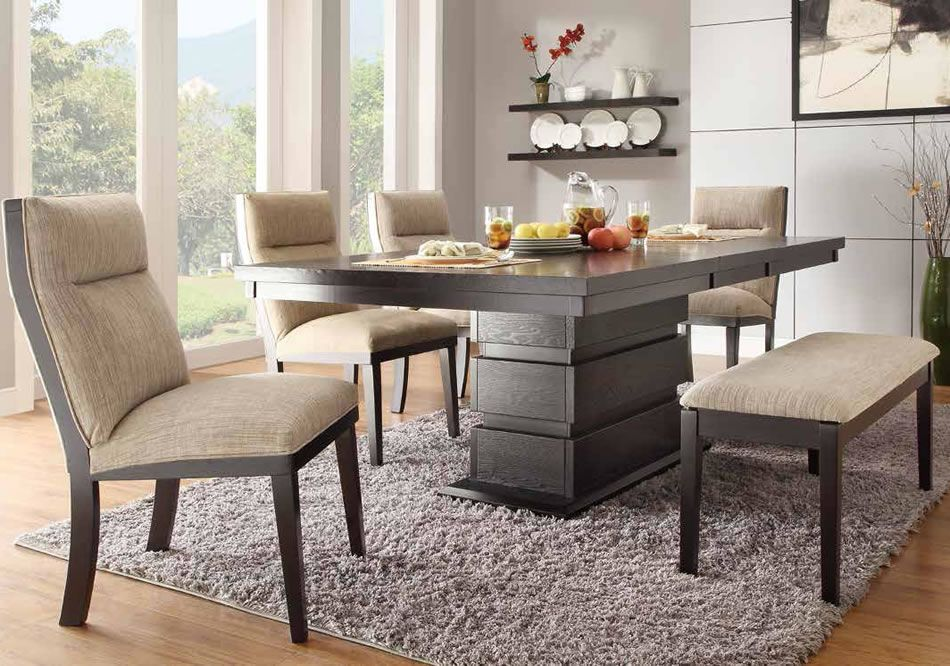 Padded Dining Table Bench With Round Table And There Are Fabric Chairs