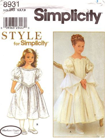 Communion Pattern - Simplicity Pattern 8931 Barbara Canfer Couture First Holy Communion Dress - Renaissance Style!  Size 5-6-7-8 - NEW, $30.00