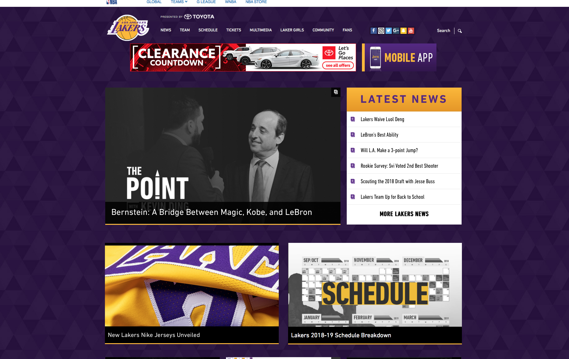 Complematary Lakers Los Angeles Lakers Mobile App