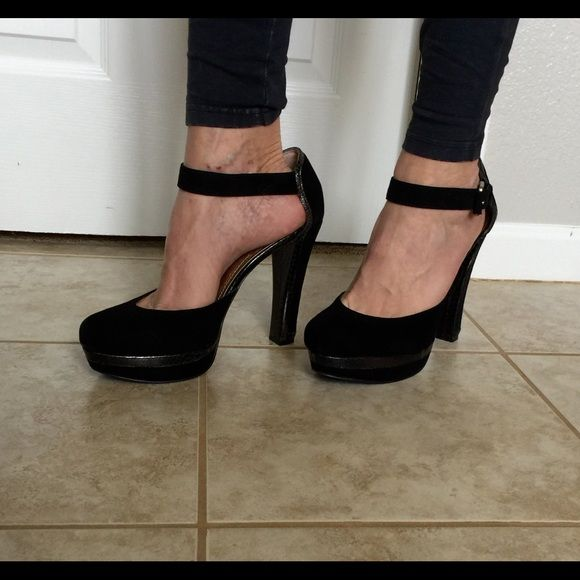 Black velvet and leather platform pumps! Beautiful, tall classic! Black velvet with silver silver snake skin pattern trim. Shiny rose gold inside. Buckle ankle straps. Worn only twice. In perfect condition! BCBG Paris Shoes Heels