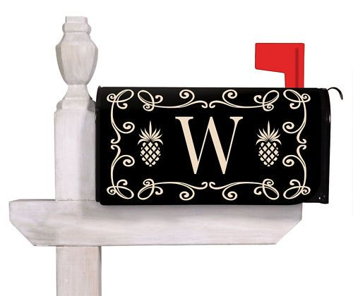 maybe i could paint something like this    magnetic mailbox cover pineapple monogram w 56261t w