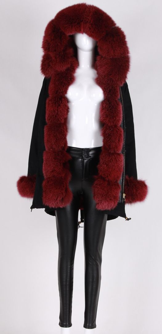Karley Burgundy Fur Trimmed Fur Lining Black Parka Coat | Black ...