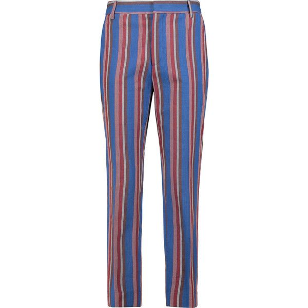 Stella Jean Striped cotton straight-leg pants (€205) ❤ liked on Polyvore featuring pants, multi, high-waisted pants, slim fit pants, stripe pants, high waisted tapered trousers and colorful pants