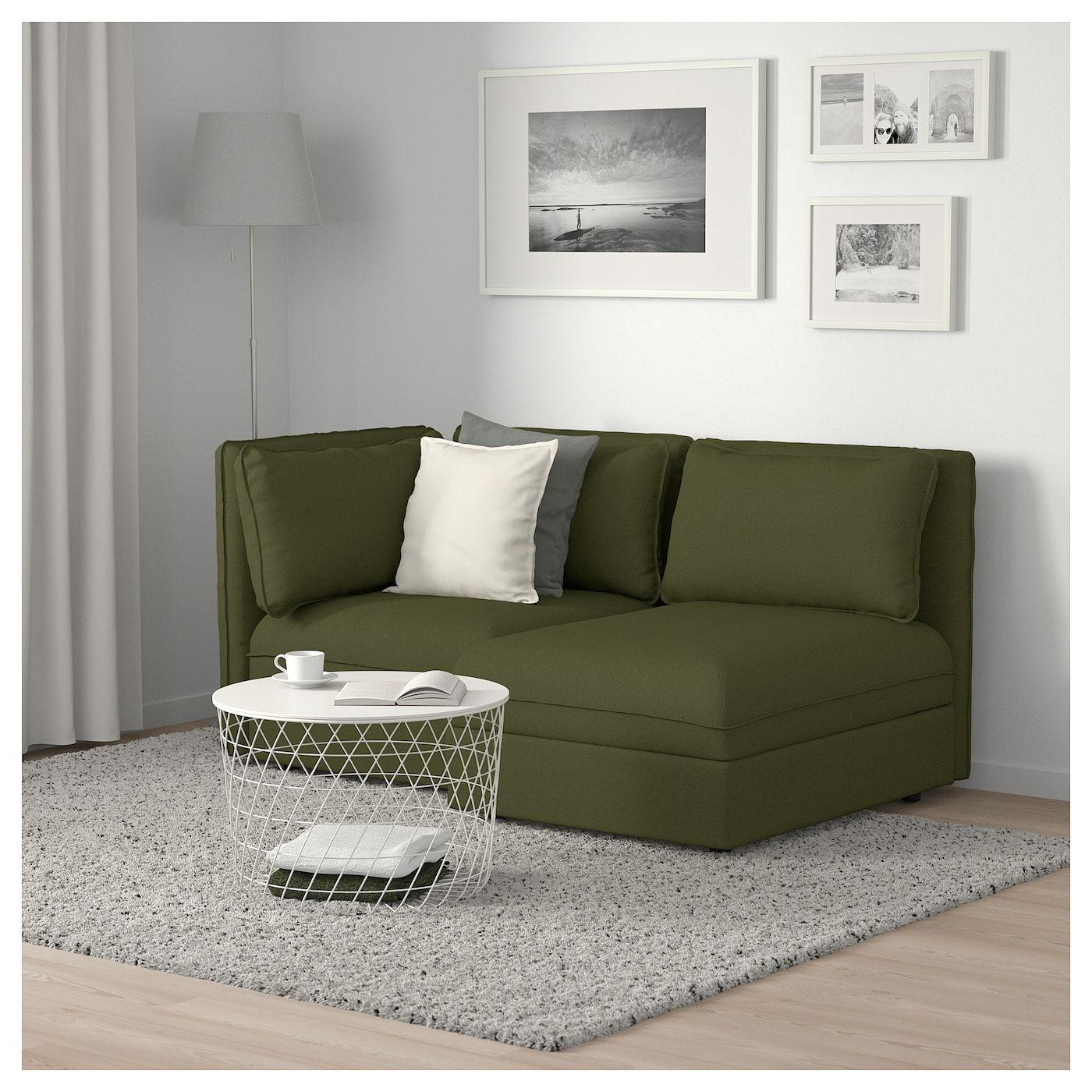 Vallentuna 2er Sitzelement Mit Stauraum Orrsta Olivgrun Schwarz Ikea Osterreich In 2020 Vallentuna Modular Sofa Love Seat