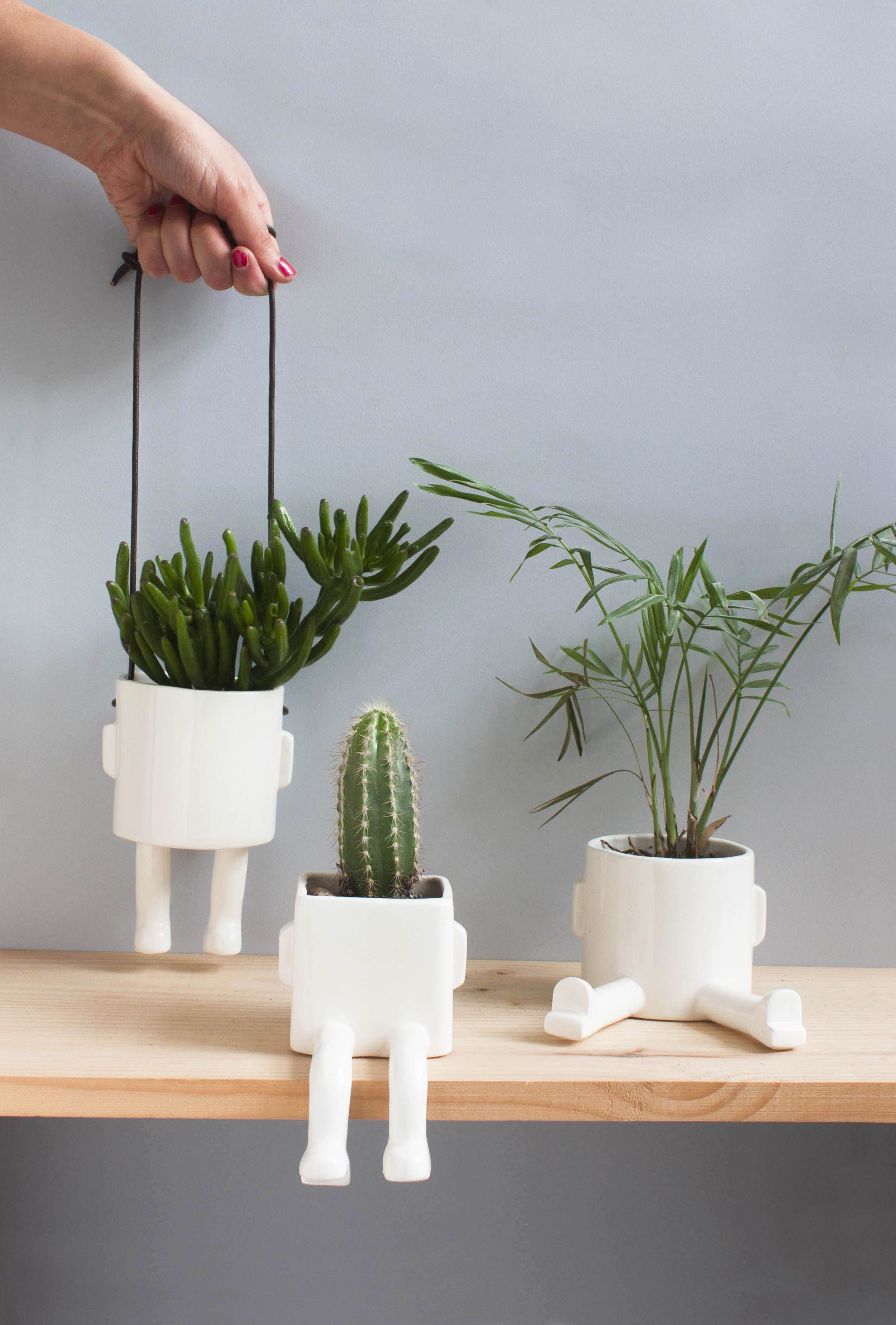 quirky ceramic plant pots with feet