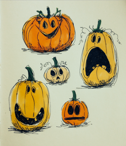 Pumpkin sketches! … Halloween art