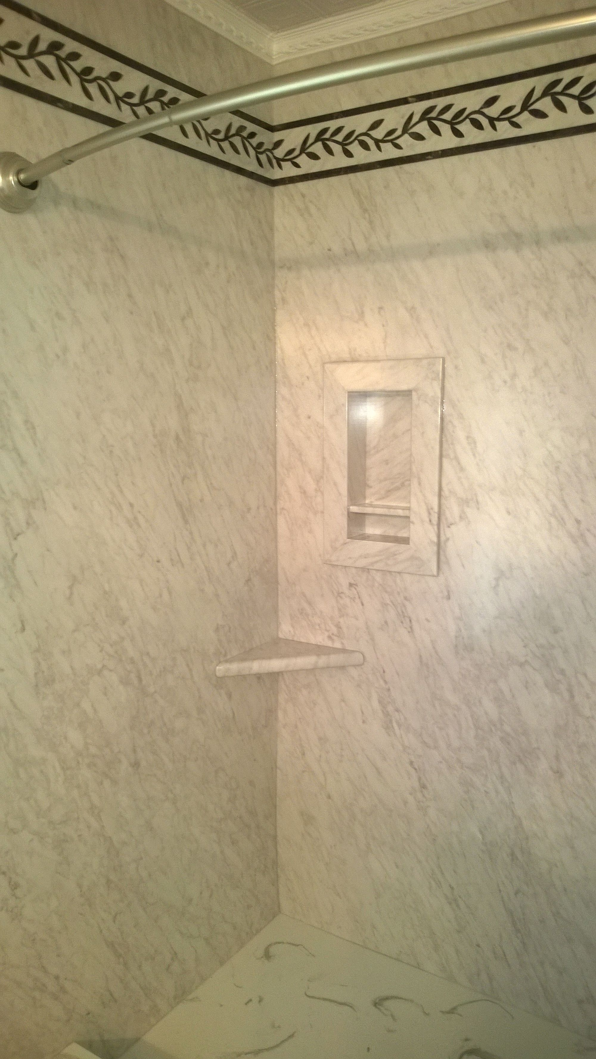 Sentrel Frost Marble Panels From Floor To Ceiling. Recessed Soap Cubbie  With Corner Shelf. Cultured Marble ShowerMarble ...