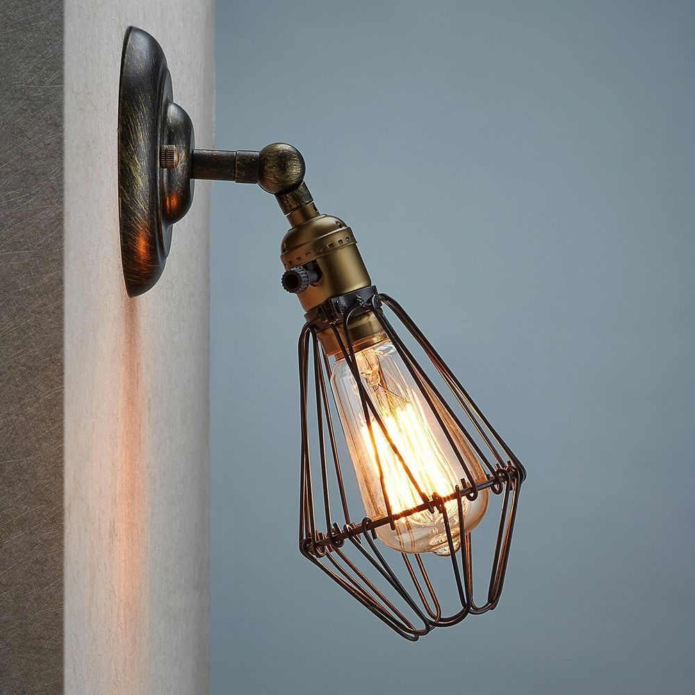 Vintage Wall Sconce Cage Lamp Ecopower Industrial Opening Closing ...