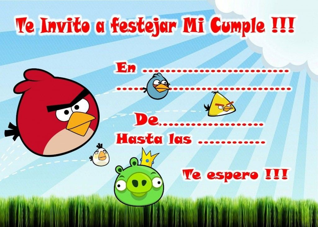 Invitaciones De Cumpleaños De Angry Birds Invitacion
